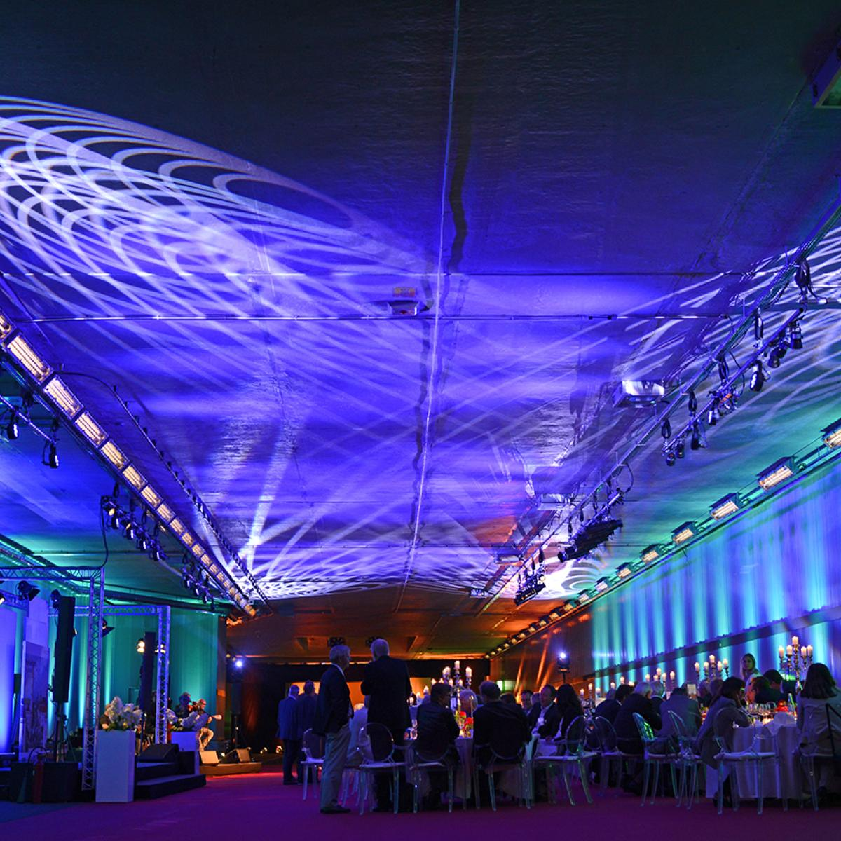 Gala lighting setup within a tunnel in Munich