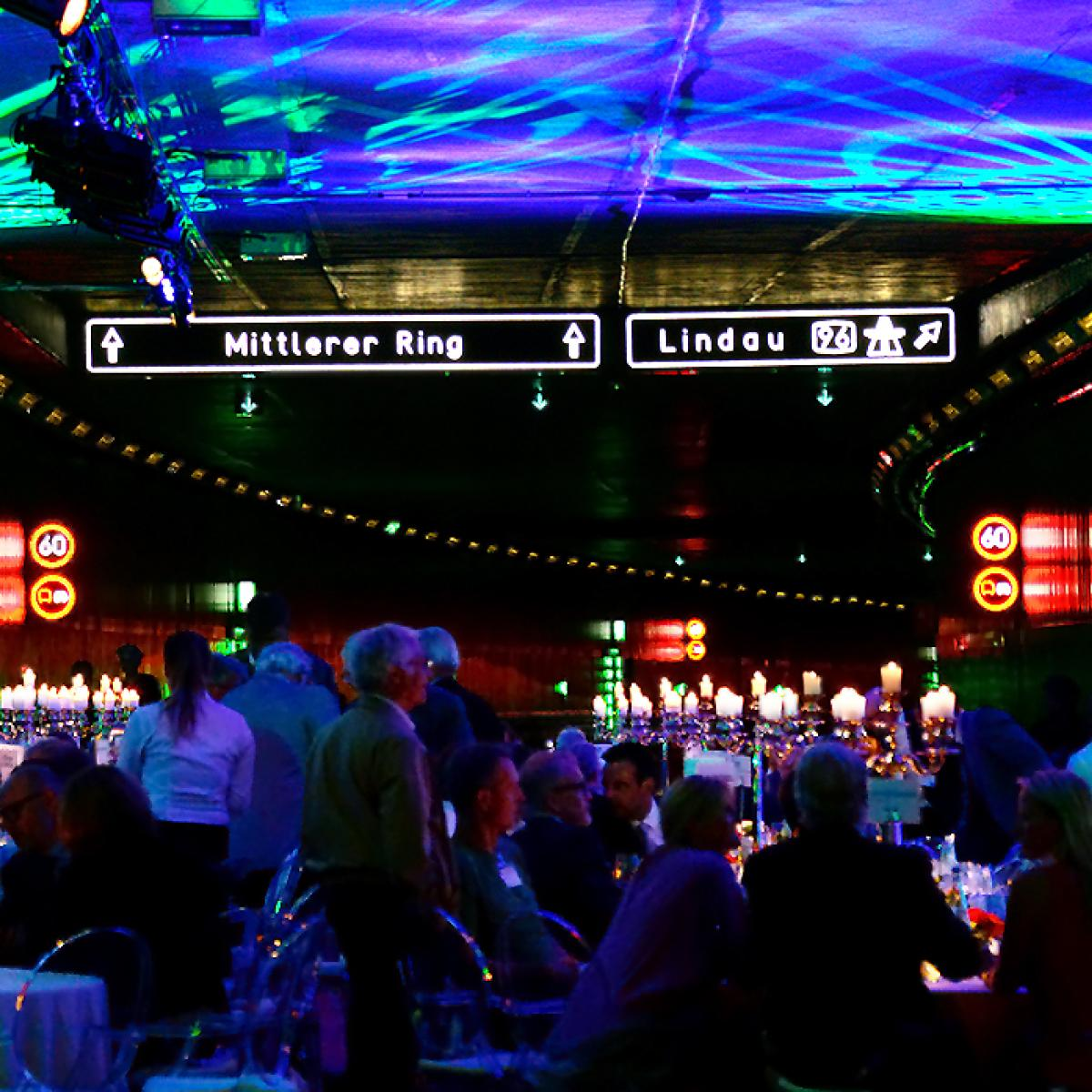 Gala setup within a tunnel in Munich